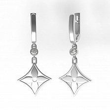 Серебряные серьги-подвески Чувственность с завальцованными фианитами в стиле Луи Виттон
