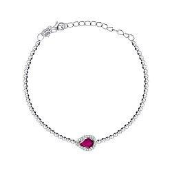 Серебряный браслет с рубином и фианитами 000149674