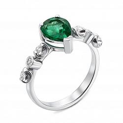 Кольцо из белого золота с изумрудом и бриллиантами 000136659