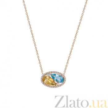 Золотое колье с цитрином, топазом и бриллиантами Клара 000026798