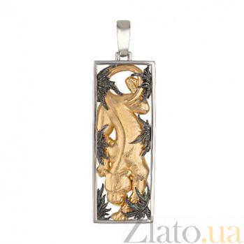 Подвеска Пантера золотистая из белого золота VLT--А304