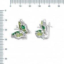 Серебряные серьги Императорская бабочка с зелеными и белыми фианитами