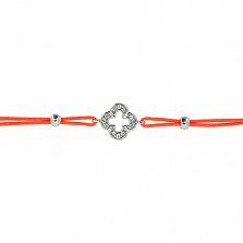 Шелковый браслет Энергия с серебряными вставками с цирконием