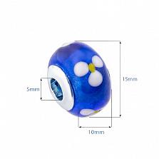 Серебряная бусина с синим муранским стеклом Подснежники