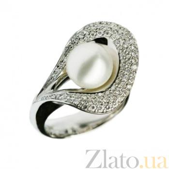 Золотое кольцо с жемчугом и бриллиантами День у моря 000026905