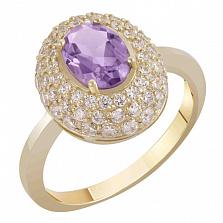 Золотое кольцо Виндзор с аметистом и фианитами
