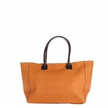 Кожаная сумка на каждый день Genuine Leather 8030 коньячного цвета с коричневыми ручками, на молнии