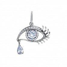 Серебряный подвес Глаз Анны в форме глаза со слезой с белыми фианитами