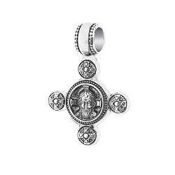 Серебряный черненый крест Божий лик с ангелом-хранителем на тыльной стороне 000054682