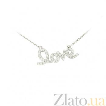 Колье из серебра с фианитами Любимой 3Л543-0008