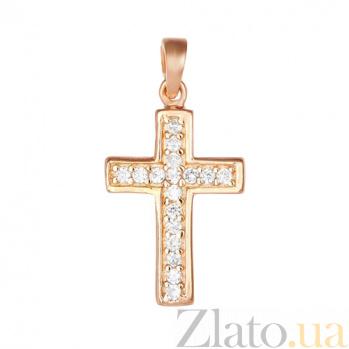 Серебряный крестик с фианитами Мелодия 000028697
