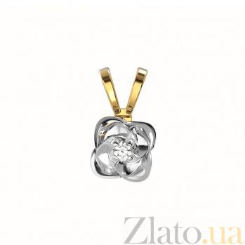 Золотой кулон Вербена в комбинированном цвете с бриллиантом VLA--35040