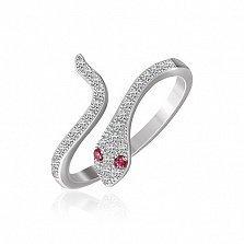 Серебряное кольцо Змейка с фианитами