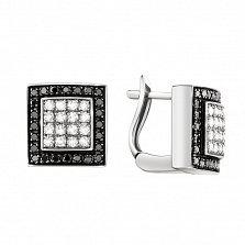 Золотые серьги Черно-белый квадрат в белом цвете с бриллиантами
