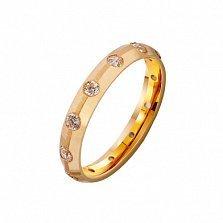 Золотое обручальное кольцо Ты мое желание с фианитами
