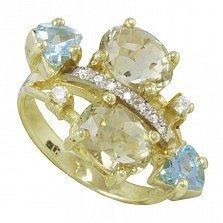 Кольцо из желтого золота Джули с цитринами, голубыми топазами и фианитами