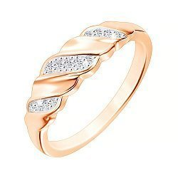 Серебряное кольцо с позолотой и фианитами 000052241