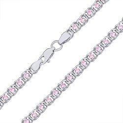 Серебряный браслет на ногу с розовым цирконием 000044841