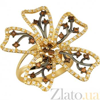 Кольцо из желтого золота с фианитами Камелия VLT--TT1053-1