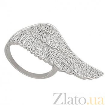 Кольцо из белого золота Крыло с фианитами VLT--ТТ1272