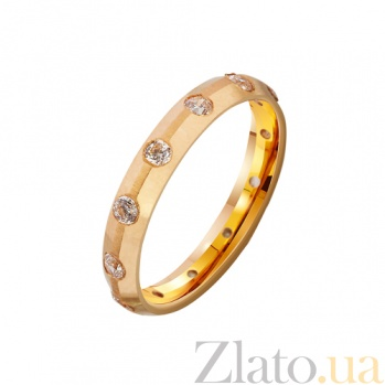 Золотое обручальное кольцо Ты мое желание с фианитами TRF--4121121
