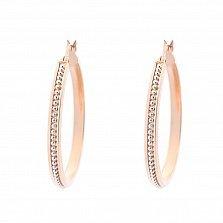 Золотые серьги-кольца Агафья в комбинированном цвете