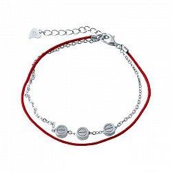 Двухслойный браслет из серебра и красной нити Ксантия