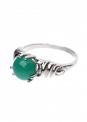 Серебряное кольцо Ванесси с крученой шинкой и зеленым агатом