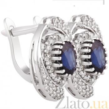 Серьги с бриллиантами и сапфирами Влюбленность KBL--С2136