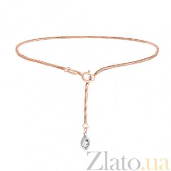 Золотой браслет на ногу Эвридика с фианитом 7146нб глаз