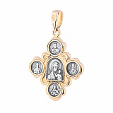 Серебряный крестик с позолотой и чернением Святая Троица