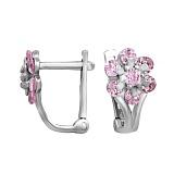 Серебряные серьги с розовыми фианитами Адрея