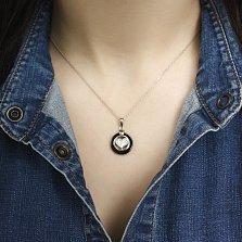 Серебряная подвеска Валентинка с черной керамикой, сердечком и фианитами