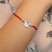 Шелковый браслет Котики Инь Ян с круглой серебряной вставкой