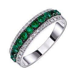 Кольцо из белого золота с изумрудами и бриллиантами 000124897