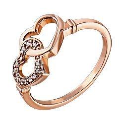 Кольцо из красного золота с фианитами 000007393