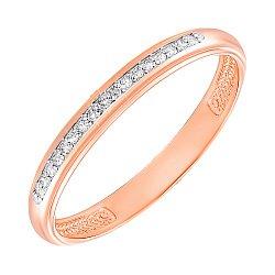 Обручальное кольцо из красного золота с бриллиантами и родированием 000137889, 2,5мм