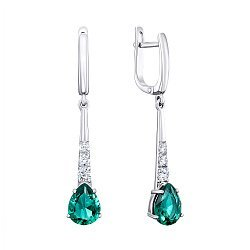 Серебряные серьги-подвески с зеленым кварцем и цирконием 000141710