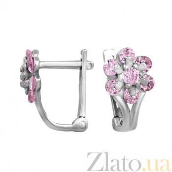 Серебряные серьги с розовыми фианитами Адрея TNG--420826С роз