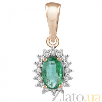 Золотая подвеска с изумрудом и бриллиантами Селеста KBL--П206/крас/изум