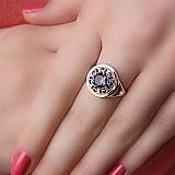 Серебряное кольцо Эристифа с золотой вставкой и цирконием цвета мистик