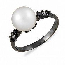 Кольцо Ада из черного золота с бриллиантами и жемчугом