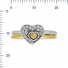 Серебряное кольцо Милена с фианитами и позолотой