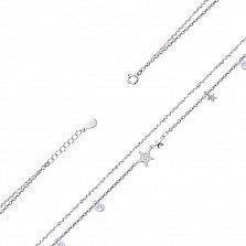 Серебряный двойной браслет на ногу Звездная сага с белыми фианитами, 9мм