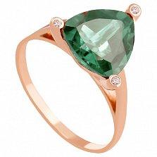 Золотое кольцо Хлоя с синтезированным аметистом и фианитами