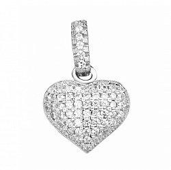 Серебряный кулон-сердце с фианитами 000106918
