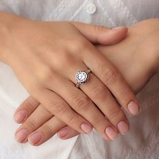 Серебряное кольцо Малышка с большим белым фианитом в стиле Булгари