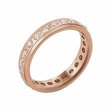 Обручальное кольцо из красного золота с бриллиантами Идеал