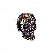 Серебряный шарм Таинственный череп в узорах