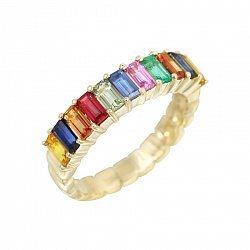 Кольцо из желтого золота с изумрудом и разноцветными сапфирами 000105789